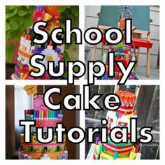 School supply cakes tutorials- would love to make this for my kids or my kids teachers! Teacher Supply Cake, Teacher Cakes, Teacher Gifts, Student Teacher, Teacher Stuff, School Supplies Cake, School Supplies For Teachers, Teacher Supplies, Back To School Party
