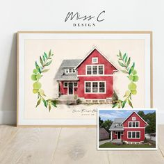 Watercolor Pictures, Watercolor Portraits, Watercolor Paintings, Watercolour, Painted Window Art, Personalized Housewarming Gifts, Photo To Art, First Home Gifts, House Drawing