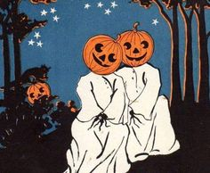 Jack O' Lantern Pumpkin Ghost Costume Tile - Boo! Its Halloween. Retro Halloween, Fall Halloween, Happy Halloween, Vintage Halloween Images, Halloween Witches, Spooky Scary, Creepy, Scary Kids, Ghost Costumes