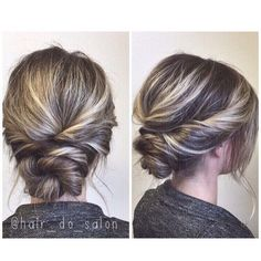 Simple twisted updo, prom or wedding hair: