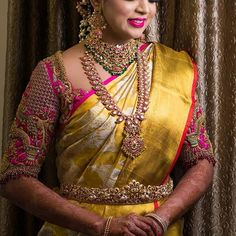10 Classic Coin Necklace Designs That Are in Trend Now! Wedding Saree Blouse Designs, Pattu Saree Blouse Designs, Half Saree Designs, Designer Blouse Patterns, Fancy Blouse Designs, Lehenga Designs, Wedding Sarees, Bridal Lehenga, Hand Work Blouse Design