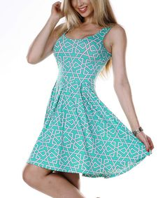 Look what I found on #zulily! Mint & White Geometric Pleated Skater Dress #zulilyfinds