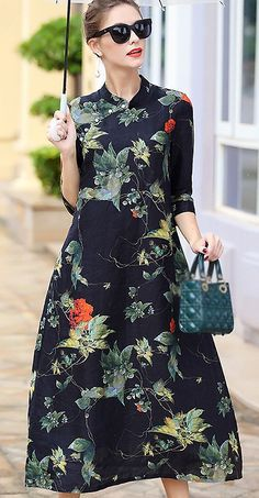 Fashion Stand Collar Floral Print A-Line Dress