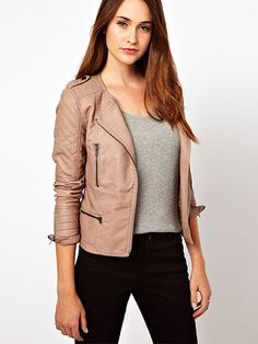 You might not ride a Harley, but no one will suspect you're fibbing in this peachy biker style. Warehouse Leather Look Collarless Jacket, $96.43, ASOS.