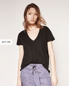ZARA - WOMAN - ORGANIC COTTON STRIPED T-SHIRT
