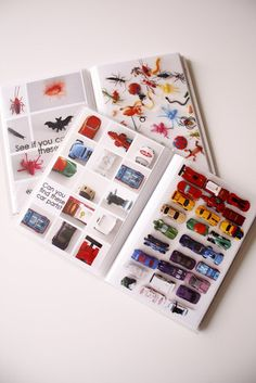 Homemade I Spy Books tutorial. Just take photos of toys (in groupings), print as 4x6 photo, slide into dollar store photo book- Genius I Spy Book!