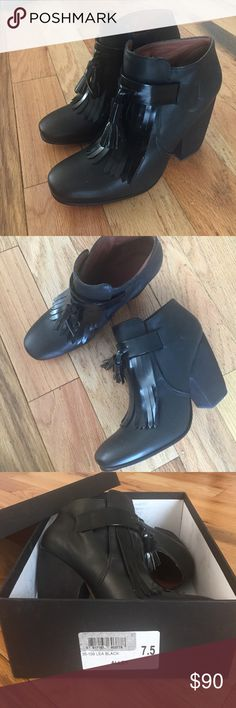 "Rachel Comey ""Alley"" bootie Black kilted leather Rachel Comey heels. Almost a low bootie look... Only worn to try on in store and at home. Still in original box. Comfortable but never worn out because I usually wear flats. Rachel Comey Shoes Heels"