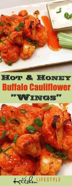 """Hot & Honey Buffalo Cauliflower """"Wings"""" Recipe: This one infuses honey into the hot sauce to provide some sweet with your heat. via @kitchnlifestyle"""