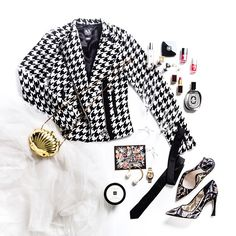 The statement moto: graphic houndstooth reinvents this closet staple.