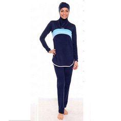 06a64fdcfdbc0 Summer Full Cover Islamic Muslim Modest Navy Stripe Swimwear Beachwear  Burkini Modest Swimsuits