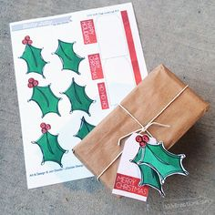 Printable Christmas Holly Gift tag set by Jen Goode