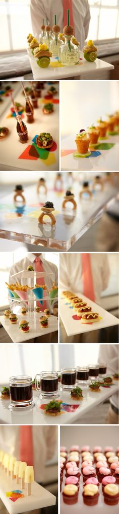 fun mini wedding foods. The patron bottle margaritas are my fave