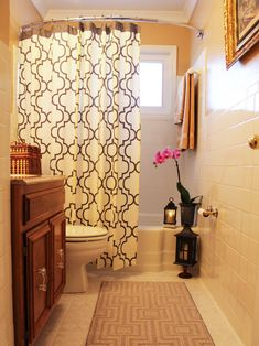Easily make a big impact in a small bathroom just by swapping out one item -- like the shower curtain. Check out the before-and-after transformation on our blog.