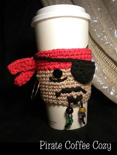 """Pirate Coffee Cozy / fits """"large to-go cups & Frappucino cups / CROCHET pattern Crochet Coffee Cozy, Crochet Cozy, Crochet Gifts, Yarn Projects, Crochet Projects, Coffee Cozy Pattern, Crochet Kitchen, Yarn Crafts, Craft Fairs"""