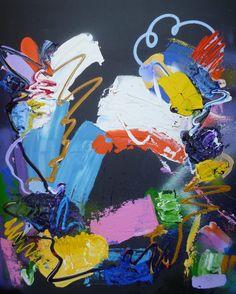 Catch the Blues, schilderij van Marten Alkema | Abstract | Modern | Kunst