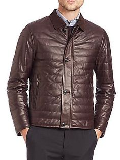 Pal Zileri Quilted Leather Jacket - Brown - Size 5