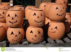 Terracotta Lanterns Pumpkins | Clay Jack-0-Lanterns on display at a roadside pottery market near ...