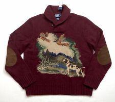 0e6baef3c590f Vintage Polo Ralph Lauren Men Hunting Sportsman Wool Knit Shawl Sweaters  TTES