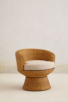 Wicker Pedestal Chair #anthropologie for the vacation home