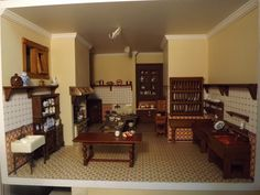 Late Victorian English Manor Dollhouse: 1/12 Miniature from Scratch: Finished Kitchen, Butler's Pantry and scullery