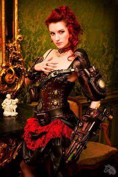 Photographer: Tenhaku Photographie Model : Lady Redstone Accesories/arms : Atelier des flammes noires #SteamPUNK ☮k☮ #Steampunk