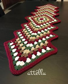 Items similar to Table Runner Christmas Decoration Crochet Holiday Table decoration - Handmade 40 inches table runner on Etsy Crochet Table Mat, Crochet Table Runner Pattern, Crochet Placemats, Granny Square Häkelanleitung, Granny Square Crochet Pattern, Crochet Christmas Decorations, Christmas Crafts, Crochet Decoration, Table Runner Christmas