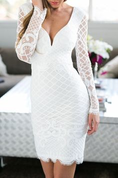 White Long Sleeves Bodycon Dress