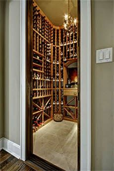 Woodwork in wine closet
