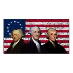 First three American Presidents. George Washington, John Adams and Thomas Jefferson