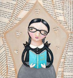 Woman reader with cats / (ilustración de Ryan Conners)