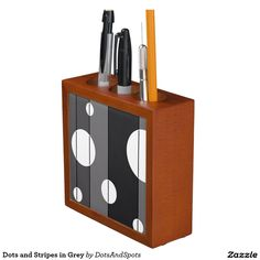 Dots and Stripes in Grey Desk Organizers