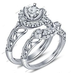 2pcs White Gold Over 925 Silver 0.82Ct Round Cut Diamond Wedding Bridal Ring Set #giftjewelry22