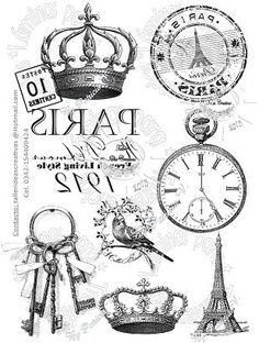 Clocks, Keys, Crowns And Paris Transfers Decoupage Vintage, Printable Labels, Printables, Etiquette Vintage, Foto Transfer, Transfer Printing, Images Vintage, Paris Images, Style Retro