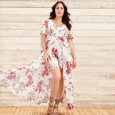 f380815a2591 White Floral Challis Overskirt Romper - A maxi skirt overlay adds flirty  flow and slight coverage