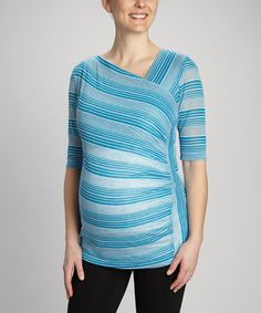 Take a look at this Blue Diagonal Stripe Maternity Top by Japanese Weekend on #zulily today!