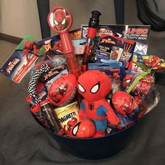 One made to order Spiderman Gift Basket. The perfect and affordable gift idea for that Spiderman fan. The basket contains ONLY Spider-Man items * Gift Baskets For Men, Themed Gift Baskets, Basket Gift, Raffle Baskets, Birthday Ideas For Her, Unique Birthday Gifts, Boyfriend Gift Basket, Boyfriend Gifts, Christmas Baskets