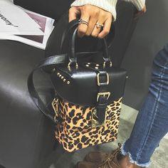 0d6ef72a3b06 Leopard Rivet Crossbody Box Bag. LoomRack
