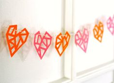 geometric felt heart garland.