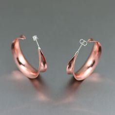 Copper Anticlastic Bark Post Hoop Earrings - Front View 2