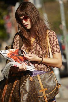 Louis Vuitton Monogram Backpack, Dolce & Gabanna Namesake Mini Skirt - top coming soon! #nastygalvintage