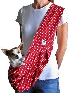 Dog Sling Red with White Polka Dots by SophiePaws on Etsy, $64.99