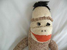 "Old Handmade Sock Monkey Brown Creme 18"" Tall 16"" Tail | eBay"