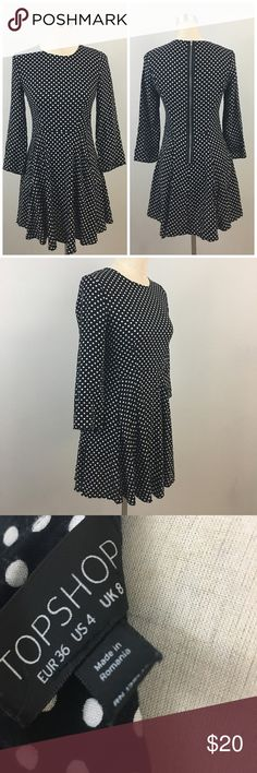 """Topshop Black & White Polka Top Zip Back Dress Topshop Black & White Polka Top Zip Back Dress. Size 4 with slight stretch. Dress hits past mid thigh in length. Thank you for looking at my listing. Please feel free to comment with any questions (no trades/modeling).  •Fabric: 100% viscose  •Bust: 34""""  •Length: 32""""  •Condition: Very good, no visible flaws.   ✨Bundle and save!✨10% off 2 items, 20% off 3 items & 30% off 5+ items! EB Topshop Dresses Mini"""