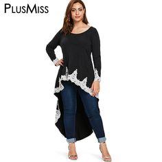 fa5cf6c884 US $20.77 40% OFF|PlusMiss Plus Size 5XL High Low Lace Crochet Blouse Women  XXXXL XXXL XXL Large Size Vintage Casual Long Tunic Tops Ladies Black-in  Blouses ...