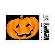 Smiling Pumpkin Halloween Postage Stamp