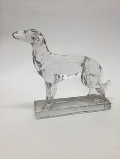 Vintage Clear Glass Pointer or Wolfhound Figurine