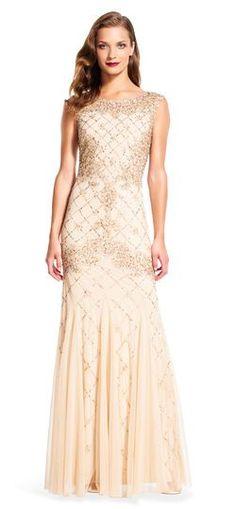 1920s Formal Dresses Guide Fully Beaded Sleeveless Godet Gown $320.00 AT vintagedancer.com