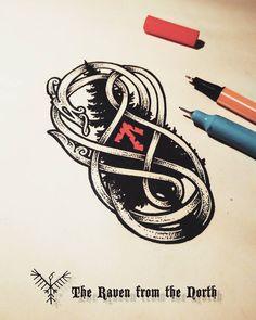 "Gefällt 465 Mal, 11 Kommentare - Jakub Vaniš (@theravenfromthenorth) auf Instagram: ""Another evening doodle... #drawing #illustration #linework #dotwork #rune #knotwork #blackwork…"""