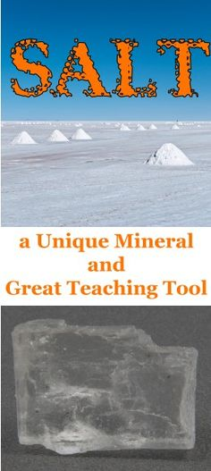 Salt is a fun mineral for teaching kids about geology. Many don't realize that table salt is truly a mineral. Click here to learn more about salt and how you can use salt in your geology & mineral lessons. http://www.minimegeology.com/blog/2013/04/04/salt-a-unique-mineral-and-great-teaching-tool/