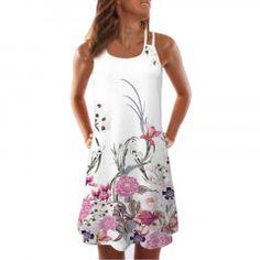 Women Summer Vintage Sleeveless Floral Print Bohe Tank Short Mini Dress Party Dress Sleeveless O Neck Casual Gonna Robes Vintage, Vintage Dresses, Mini Dresses, Plus Size Bohemian Dresses, Tank Top Dress, Dress Tops, Vestidos Vintage, Short Mini Dress, Vacation Dresses